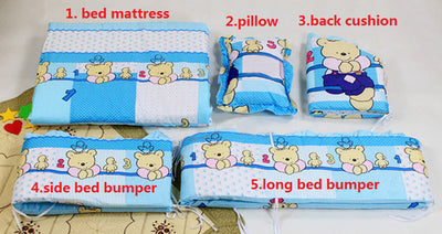 Cartoon Bed Baby Crib Bumpers blue specs