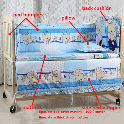 Cartoon Bed Baby Crib Bumpers blue details
