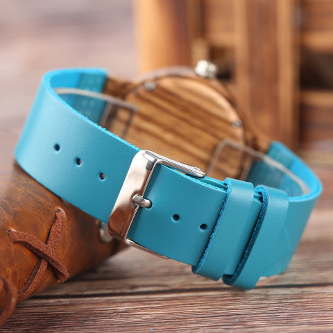 Royal Blue Strap Wooden Watches back strap