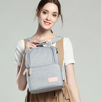 Double Layer Breast Pump Bag front gray