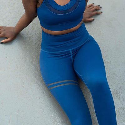 Quick Drying Fitness Workout Leggings blue top view
