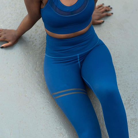 Quick Drying Fitness Workout Leggings blue