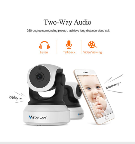 Smart Camera with Motion Sensor WiFi Baby Monitor 2 way voice