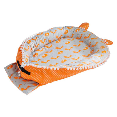 Portable Travel Baby Lounger Bumper orange closed
