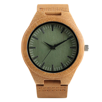 Bamboo Modern Soft Leather Wooden Watches brown wood green