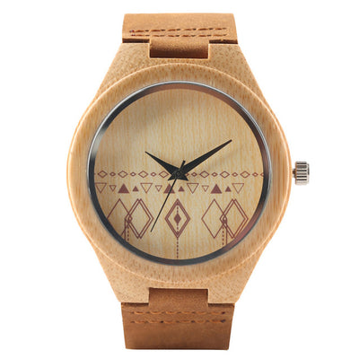Bamboo Modern Soft Leather Wooden Watches coffee white