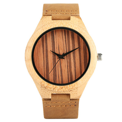 Bamboo Modern Soft Leather Wooden Watches coffee color