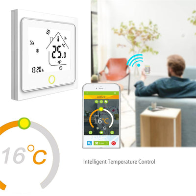 Programmable Smart Wifi Home Thermostat control app with man at the background