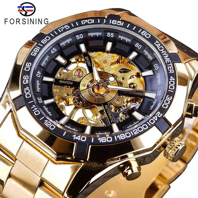 tainless Steel Waterproof Mens Skeleton Watches gold