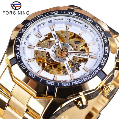 tainless Steel Waterproof Mens Skeleton Watches white golden