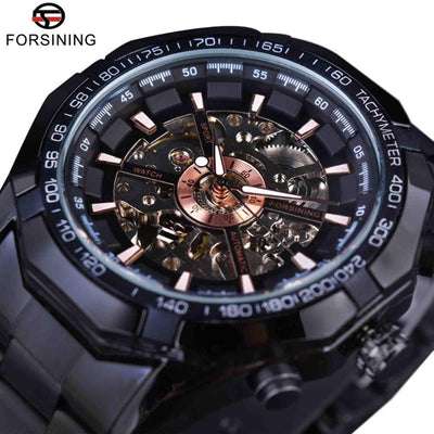 tainless Steel Waterproof Mens Skeleton Watches black pure