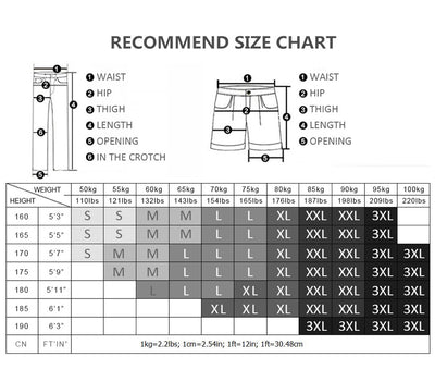 Men Compression Legging Tight Pants size chart