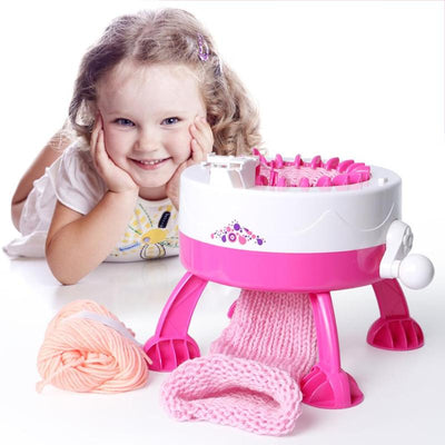 Plastic Needle Knitting Toy Machine with a girl
