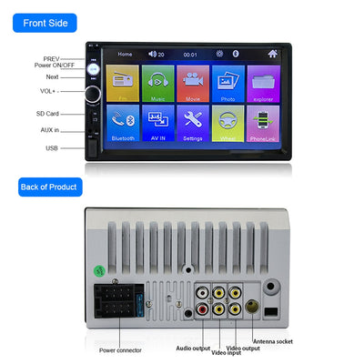 Touch Screen Double Din Car Radio Stereo back panel