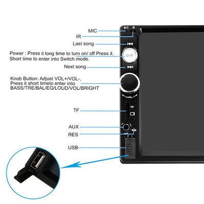 Touch Screen Double Din Car Radio Stereo front panel