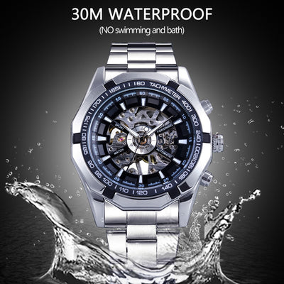 tainless Steel Waterproof Mens Skeleton Watches water