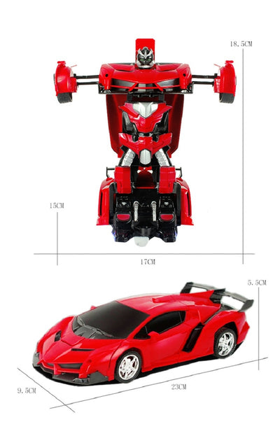 Transformer 2 in 1 RC Car Toy red dimension