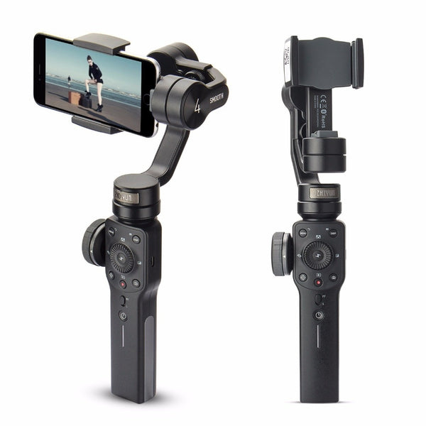 3-axis Handheld Gimbal Stabilizer front view with without phone