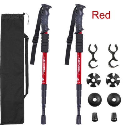 Trekking Hiking Stick Poles red interchangeable points