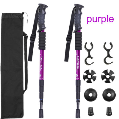 Trekking Hiking Stick Poles purple color variant with bag