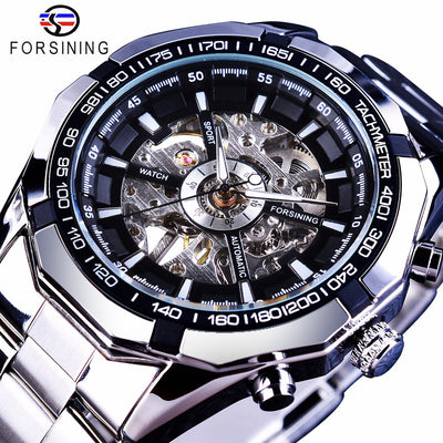 tainless Steel Waterproof Mens Skeleton Watches silver