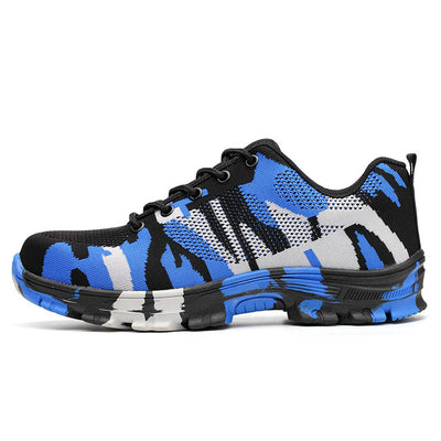 Indestructible Safety Steel Toe Shoes blue camouflage side