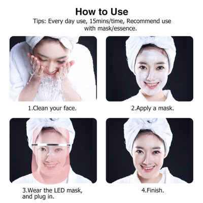 LED Light Therapy Face Mask instructions to use