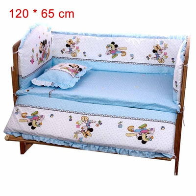 Cartoon Bed Baby Crib Bumpers 120 x 65 cm blue