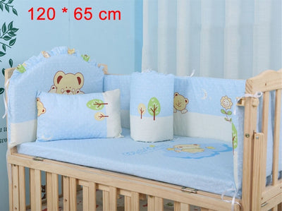 Cartoon Bed Baby Crib Bumpers 120 x 65cm blue
