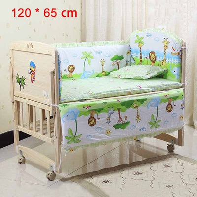 Cartoon Bed Baby Crib Bumpers 120 x 65 cm green