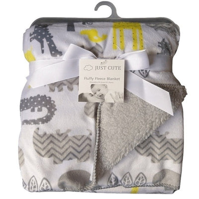Personalized Fleece Swaddle Receiving Baby Blankets - white yellow