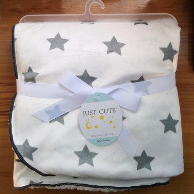 Personalized Fleece Swaddle Receiving Baby Blankets - gray stars