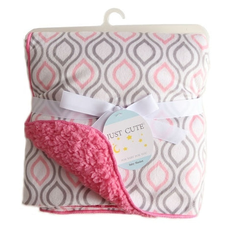 Personalized Fleece Swaddle Receiving Baby Blankets pink