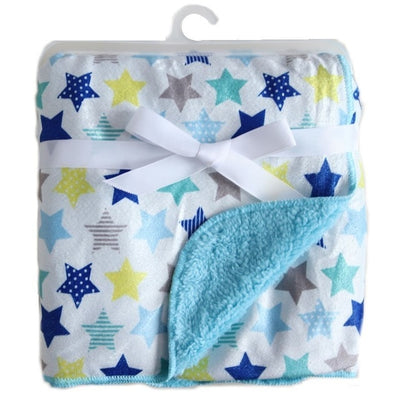 Personalized Fleece Swaddle Receiving Baby Blankets- blue yellow stars