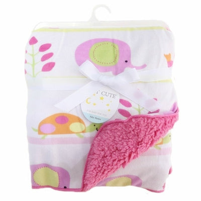 Personalized Fleece Swaddle Receiving Baby Blankets - pink elephant