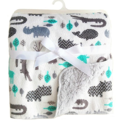 Personalized Fleece Swaddle Receiving Baby Blankets- white gray animals