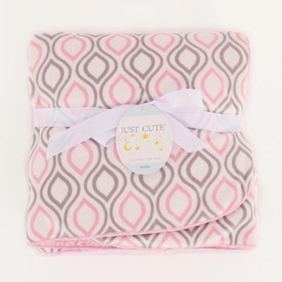 Personalized Fleece Swaddle Receiving Baby Blankets - baby pink diamond pattern