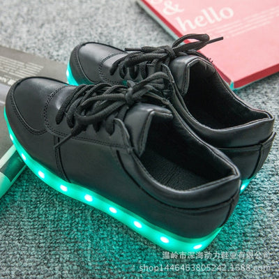 Glow Led Light Up Shoes sky blue in black shoes