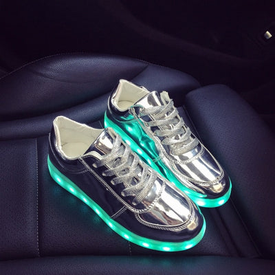 Glow Led Light Up Shoes skyblue top view