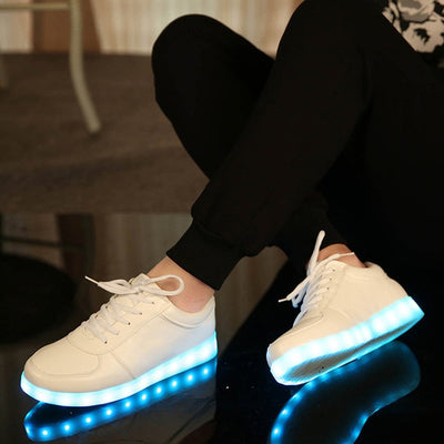 Glow Led Light Up Shoes sky blue in black floor