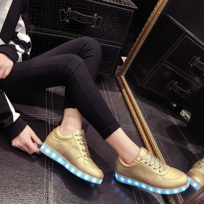 Glow Led Light Up Shoes gold shoes