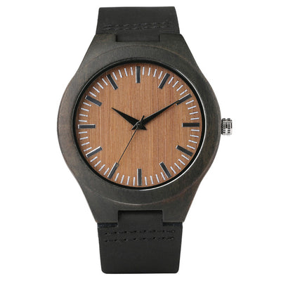 Bamboo Modern Soft Leather Wooden Watches strap black wood inside