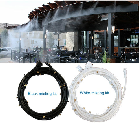 Outdoor Misting Cooling System black white example