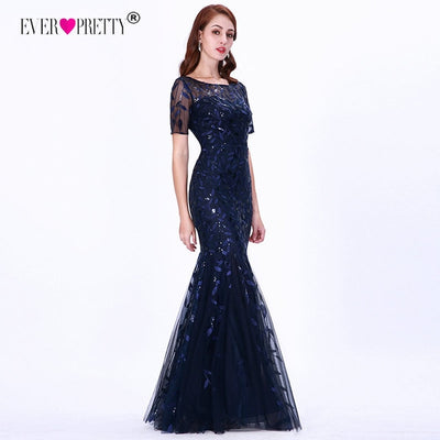 Short Sleeve Lace Mermaid Prom Dresses blue front