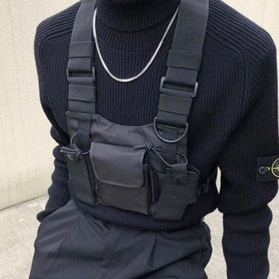 Tactical Military Chest Rig front black shirt