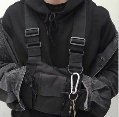 Tactical Military Chest Rig black front angle