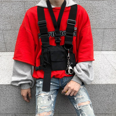 Tactical Military Chest Rig Men with Red Shirt