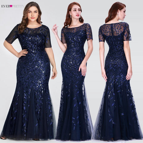 Short Sleeve Lace Mermaid Prom Dresses blue different sizes