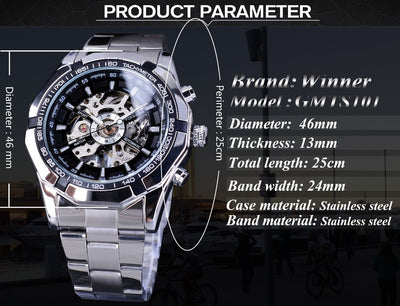 tainless Steel Waterproof Mens Skeleton Watches product description