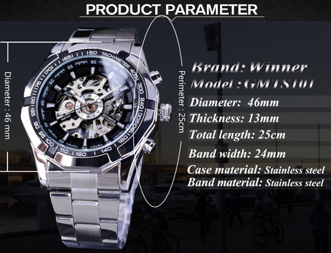 tainless Steel Waterproof Mens Skeleton Watches product